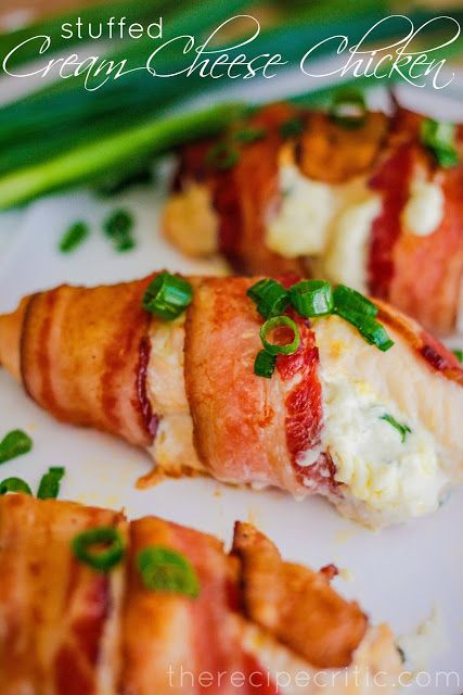 Stuffed Cream Cheese Chicken - The Recipe Critic 4 boneless, skinless chicken breasts 8 oz cream cheese 1/4 cup green onions, chopped 4 slices bacon, partially cooked