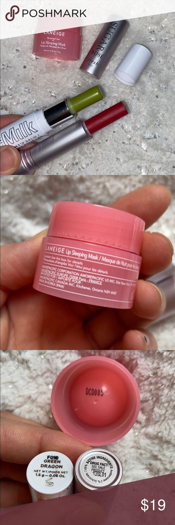 3 lip balmsMilk makeup/Laneige/Fresh 3 travel size bundle