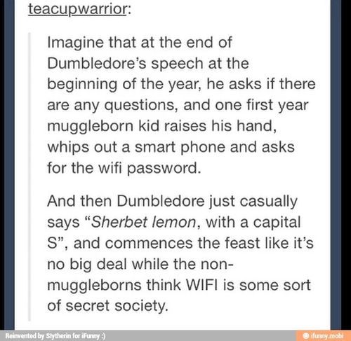 Omg yes! They almost HAD to have wi-fi. Just imagine the muggleborns already feeling like outsiders, and coming to this new school, leaving all their friends behind, all the things they had in the muggle world, just to learn magic. Dumbledore probably gave them wi-fi so they wouldn't feel totally isolated from the world they grew up in for the last 10 years.
