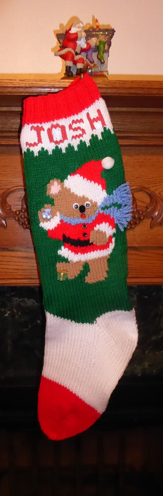 The 25 best knitted christmas stocking patterns ideas on knitted christmas stocking pattern a christmas bear boy solutioingenieria Images