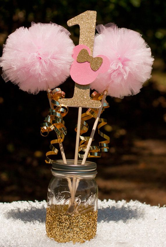 minnie mouse party pink and gold minnie centerpiece table decoration gracesgardens pinterest. Black Bedroom Furniture Sets. Home Design Ideas
