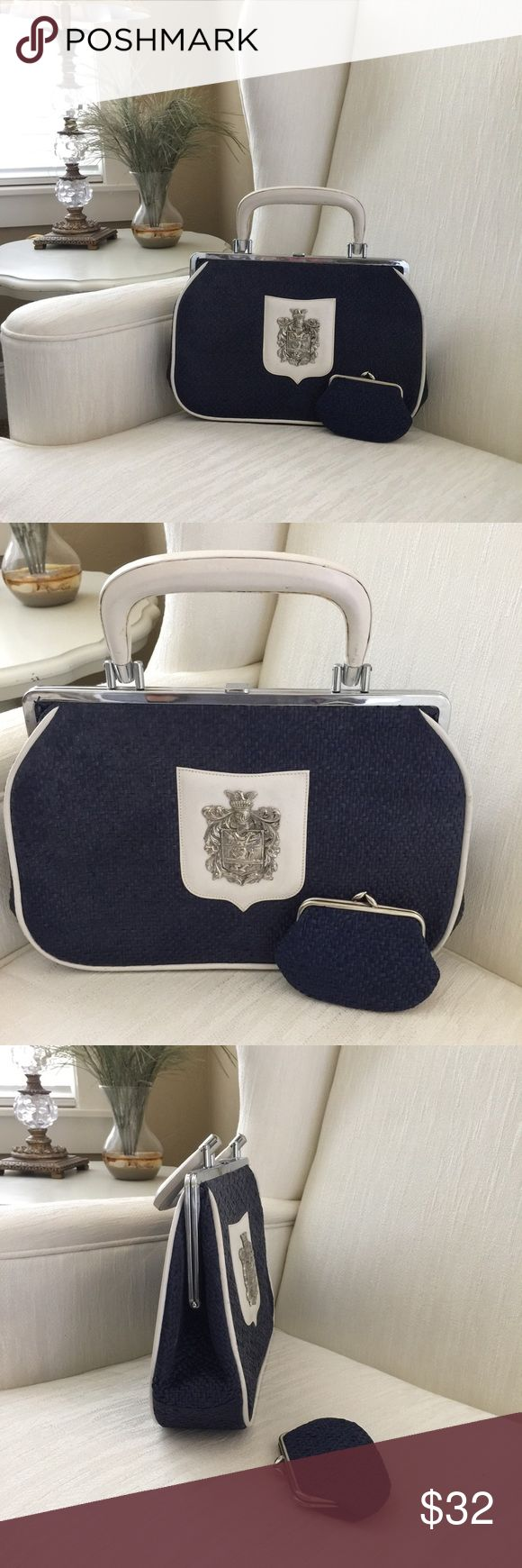 Vintage Purse by Marforio Venezia Beautiful Vintage navy blue and white purse still in very good condition. It comes with its own coin purse. Bags