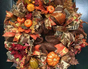 Autumn Pumpkin Mesh Wreath Fall Door Wreath by CoyoteCountryMarket