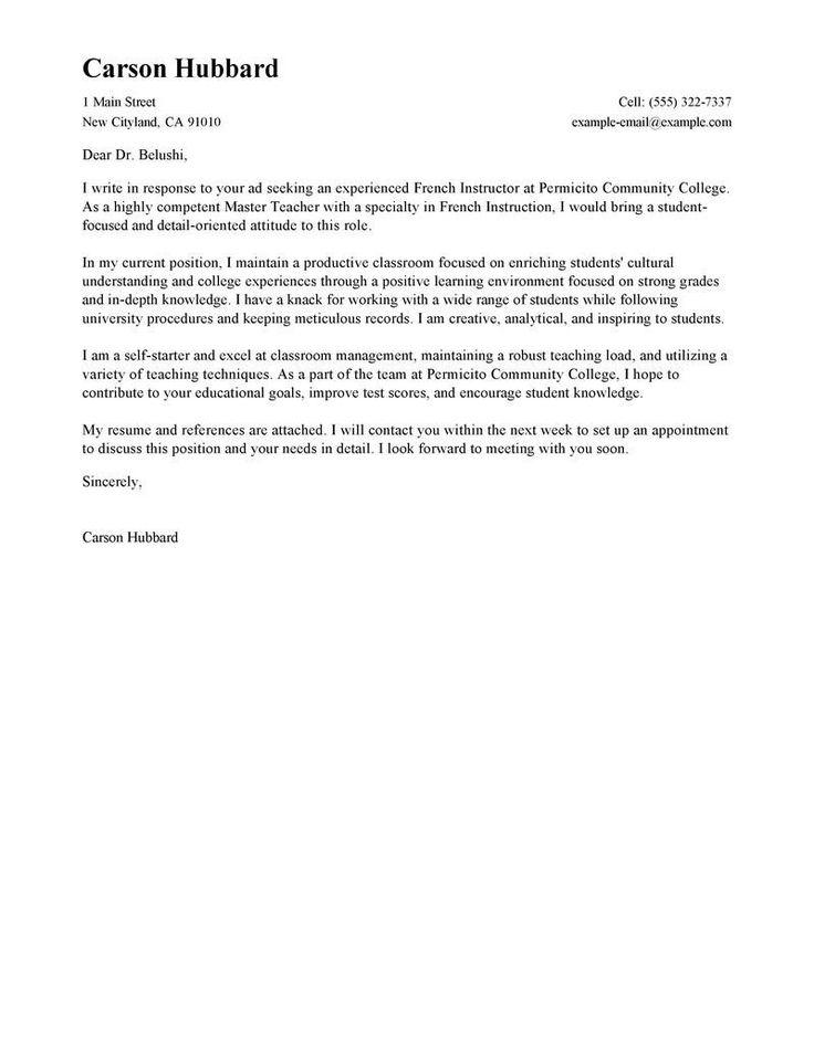 Cover Letter format for Teachers Lovely Best Master