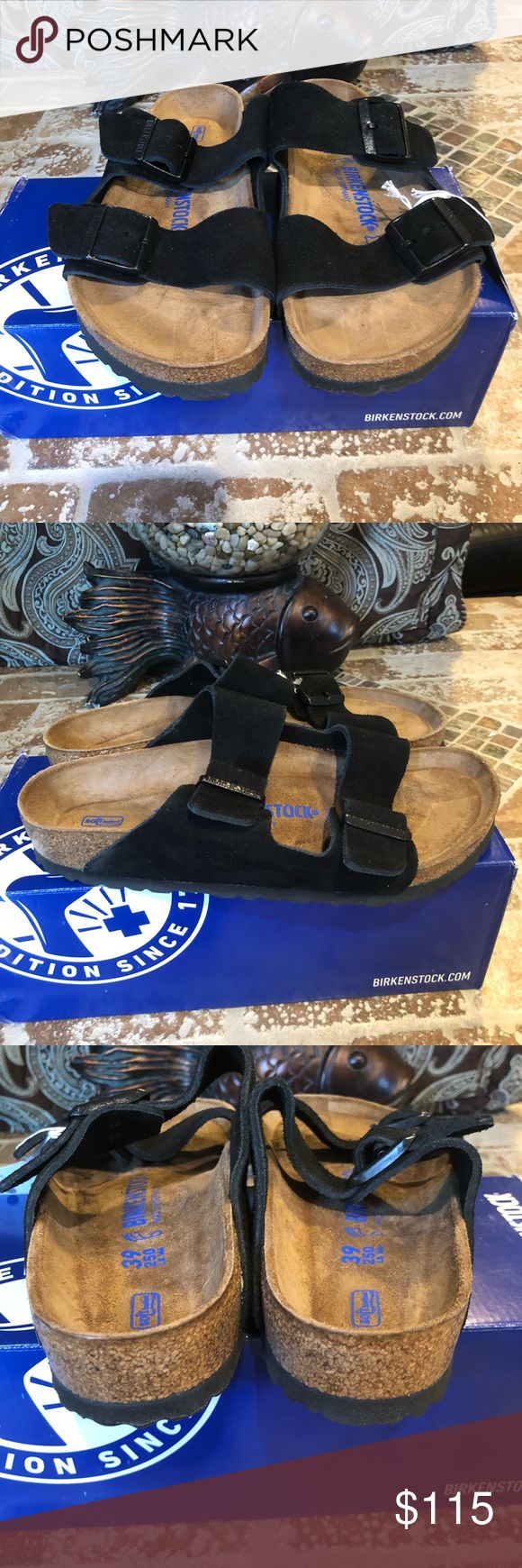 Birkenstock NWT Size 39 L8 Brand new. Original box Arizona Suede Leather Soft Footbed Black The often imitated, never duplicated, category-defining, two-strap wonder from Birkenstock. A comfort legend and a fashion staple. With adjustable straps and a magical cork footbed that conforms to the shape of your foot, a truly custom fit is as effortless as the classic design. Birkenstock Shoes Sandals