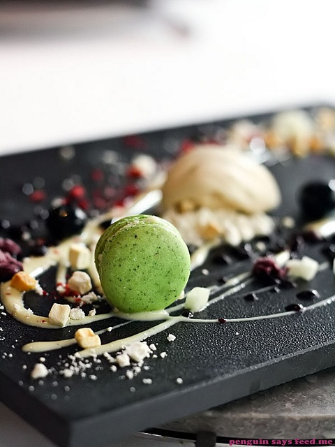 "Chef Alvin Leung's Galaxy dessert with kaffir lime macaron from ""Bo Innovation"" Resturant in Hong Kong."