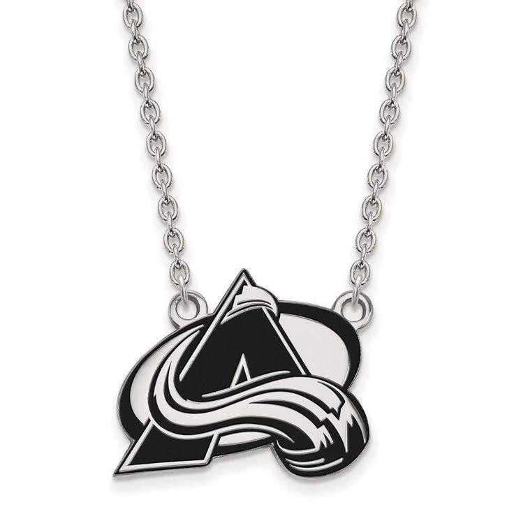 Sterling Silver NHL LogoArt Colorado Avalanche Lg Enl Pendant w/Necklace