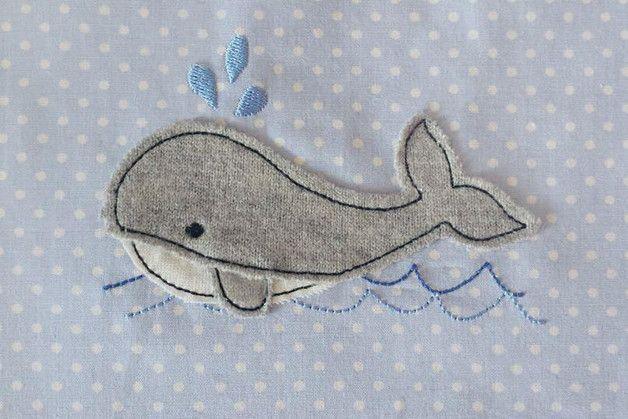 Stickmuster - Stickdatei Wal 10x10 Doodle Fisch - ein Designerstück von Stickherz bei DaWanda