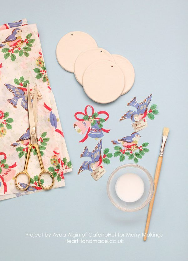Make some crazy simple Christmas Ornaments Cath Kidston Style, using Air Dry Clay http://www.hearthandmade.co.uk/how-to-make-simple-christmas-ornaments/