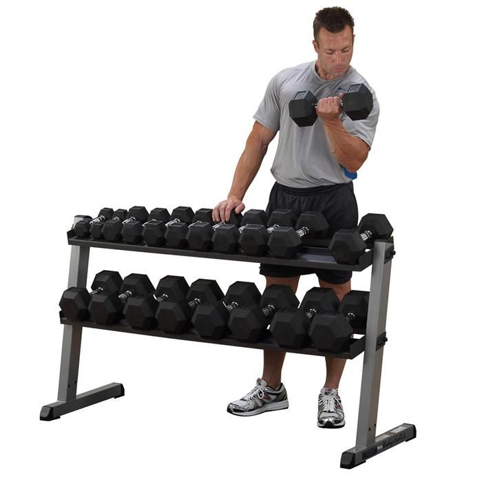 Body Solid 5-50lb Hex Dumbbell Set and Rack