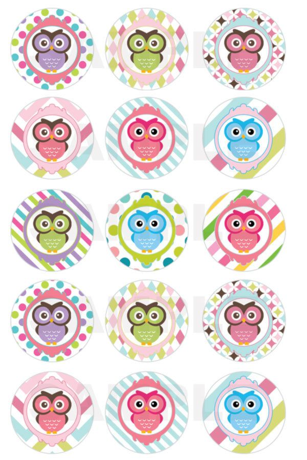 INSTANT DOWNLOAD Owl Bottle Cap Images 4x6 Sheet by DigiPrintz
