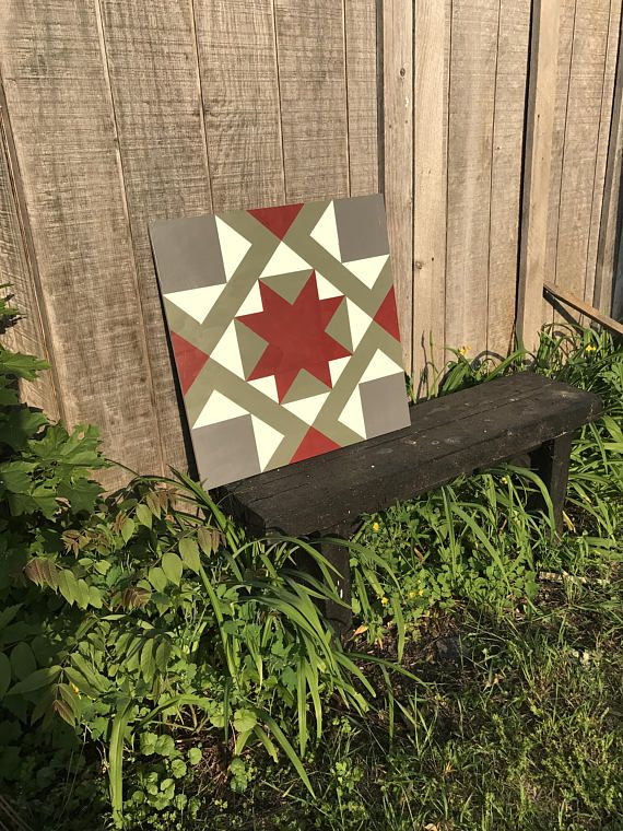 This is a 2x2 foot barn quilt hand painted with outdoor paint and sealed. The wood used is exterior grade plywood which is made to outlast most other wood materials in exterior conditions. It makes a great decoration for outside or inside and in any room. Custom orders are accepted and are under a separate listing. If you would like a UPS shipping quote please feel free to send me a message. It is generally cheaper when shipping items the west coast, but not always.