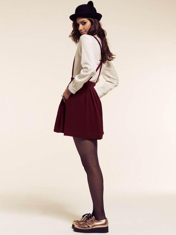 Burgundy Pinafore Dress