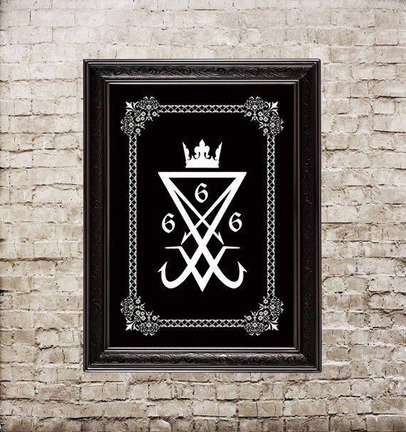Lucifer sigil, Seal of Lucifer, occult print, magic print, Satan