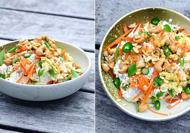 » KOKOSRIS MED GRØNTSAGER, KYLLING OG PEANUTBUTTERSAUCE - Twin food blog