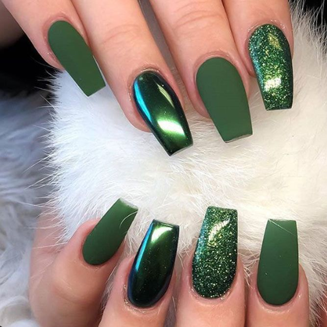40 Trendy Short Coffin Nails Design Ideas Naildesignsjournal Com Short Coffin Nails Designs Green Acrylic Nails Green Nails