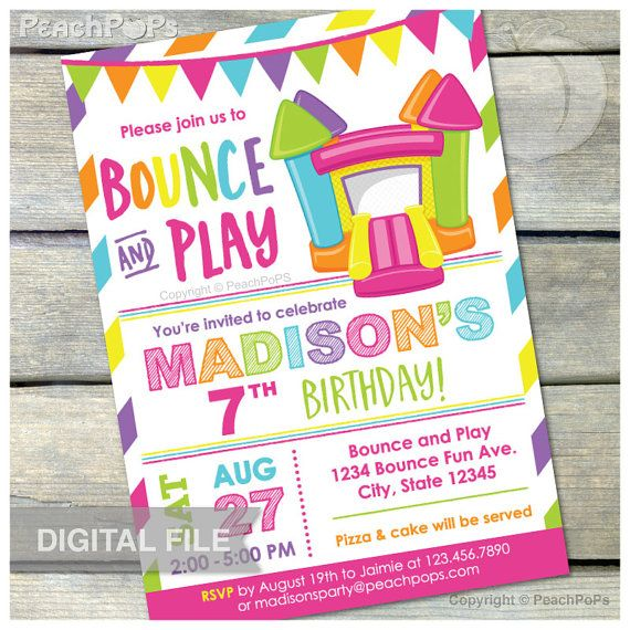 "Bounce House Pink Birthday Invitation Bounce and Play Bouncy House Inflatable Jump Party - DIGITAL Printable Invite - 5"" x 7"""