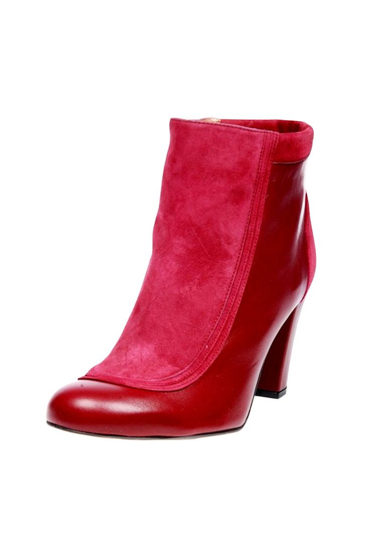 Burgundy leather and suede ankle boots