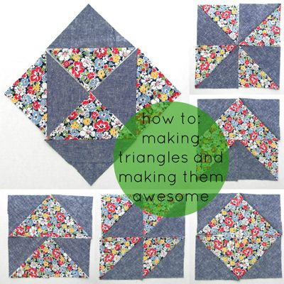 Half-Square Triangles: Make + Design with HSTs « Sew,Mama,Sew! Blog -- @Anna Totten Totten Totten Faunce Marks , there's a couple more idea's for you..