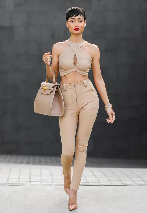 nude-bandeau-top-with-pants-and-structured-bag