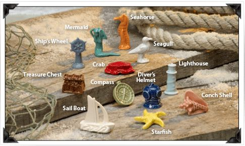 Nautical Wonderland Series 2012-present Compass, Conch shell, Crab, Diver's helmet, Lighthouse, Mermaid, Sail boat,  Seagull, Seahorse, Ship's wheel, Starfish, Treasure chest - 12 pieces (I just started on this collection and only have the sail boat so far)
