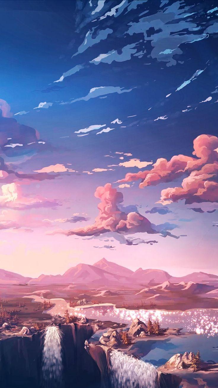 Blue And Pink Ombre Gradient Sky Digital Landscape Painting Of Sunset Sunrise Landscape Wallpaper Anime Scenery Wallpaper Scenery Wallpaper