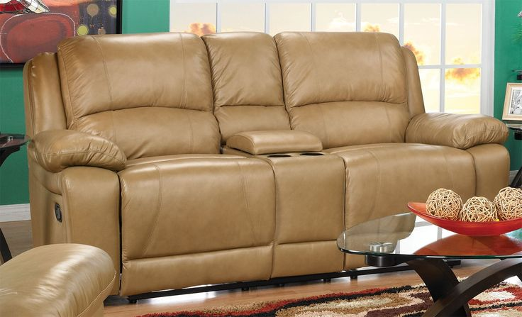 Living Room Furniture - Marco Genuine Leather Reclining Loveseat - Toffee