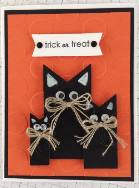 halloween kitties www make sure to check out my stamp of the month kit linda bauwin card iologist helping you create cards from the heart - Handmade Halloween Cards Pinterest