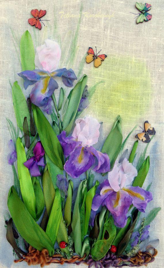 """Ricamo """" Iris""""  Silk ribbon embroidery, fiori di nastri, textilart."""