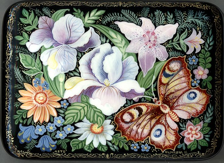 """Flowers & Butterfly"" Lacquer Art by Zina Miturina (Kholui)"
