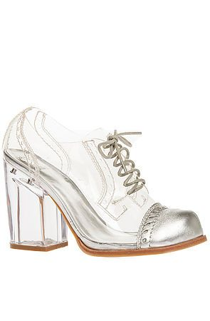 Cinderella would be pleased. The Clearly Shoe in Clear with Silver Toe (EXCLUSIVE)