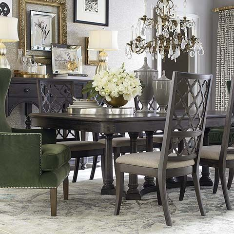 Love The Dining Set And Side Chairs Like Using Different At Ends Table With Grey Hues Chandelier Etc Emporium Room By Bassett