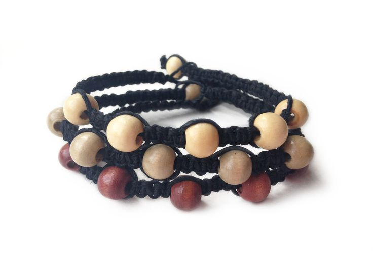 PRETTY POISON: Black Hemp Cord with Wood Seed Beads