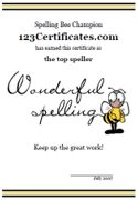 Printable spelling bee certificates - spelling awards and spelling bee award certificates to print for kids