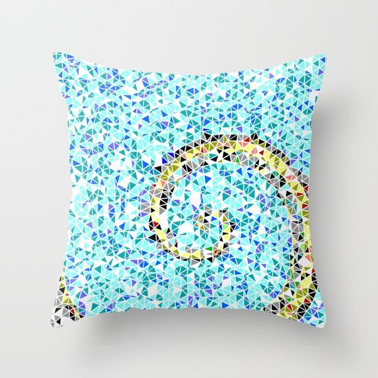 20% OFF ALL PILLOWS + FREE WORLDWIDE SHIPPING!  Mediterranean Wave Mosaic Throw Pillow by ARTbyJWP from Society6 #pillow #cushion #homedecor #geometric #blueandyellow  -- Throw Pillow made from 100% spun polyester poplin fabric, a stylish statement that will liven up any room. Individually cut and sewn by hand, each pillow features a double-sided print and is finished with a concealed zipper for ease of care.  Sold with or without faux down pillow insert.
