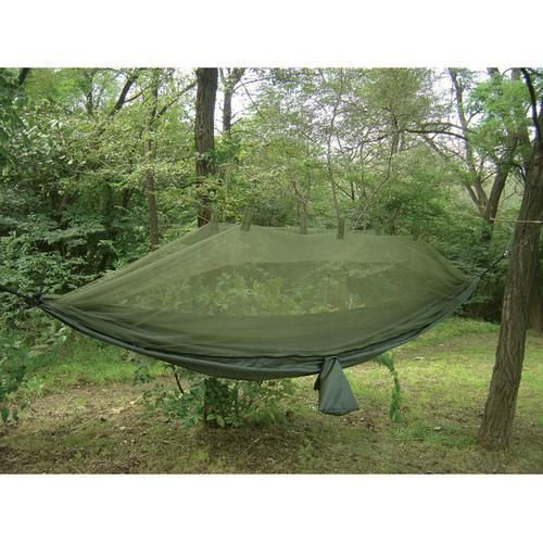 Jungle Hammock w/ Mosquito Net- This Jungle Hammock with Mosquito Net is great for those who don't want to carry a tent but want protection from insects. This Jungle Hammock comes with Mosquito Netting built right into the overall product. Its great for those looking for a simple solution when out in about in the woods or jungle.