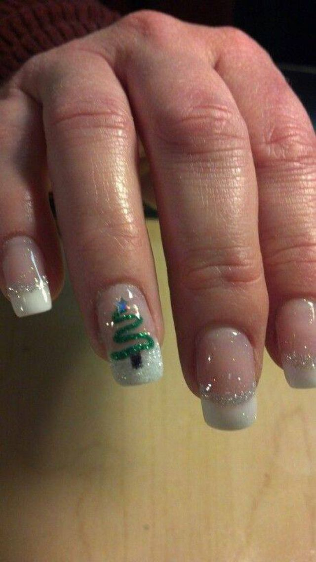 Christmas white and silver tips with simple tree. Understated. Classy.