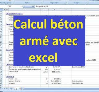 Calcul béton - fléxion, ELU, ELS, effort tranchant et géomètrie avec excel