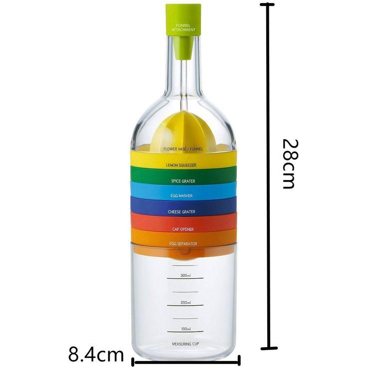 Locisne 8 in 1 Küche-Werkzeug, Mehrzweckfunktion Plastikbehälter-Flasche Wesentliche Küche Kochen-Werkzeuge Küche Gadget (Trichter, Zitronepresse, Gewürzreibe, Eiermeißel, Käsereibe, Eierseparator, Messschale, Dosenöffner)