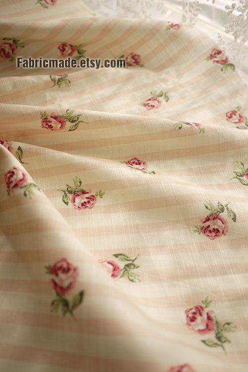 Cotone tessuto arancio rosa Stripe con Rosa Rose tessuto in cotone, Chic tessuto-1/2 yard
