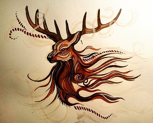 deer painting  inspired by picture from internet #deer #painting #art