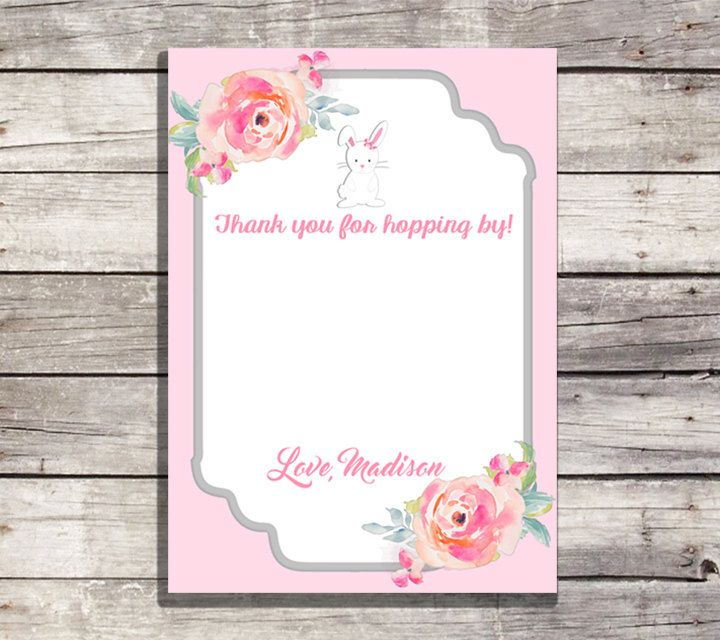 Some Bunny Thank You Card, Bunny Birthday Thank You Note, Easter Spring Birthday, Mint, Baby Bunny First Birthday ~ Printable & Personalized by PrintablePartybyFinn on Etsy