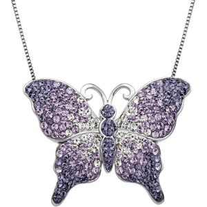 Luminesse Crystal Accent Sterling Silver Purple Fade Butterfly Pendant, 18""