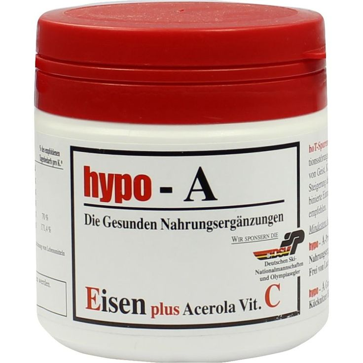 HYPO A Eisen+Acerola Vitamin C Kapseln:   Packungsinhalt: 120 St Kapseln PZN: 01879299 Hersteller: hypo-A GmbH Preis: 25,04 EUR inkl. 7 %…