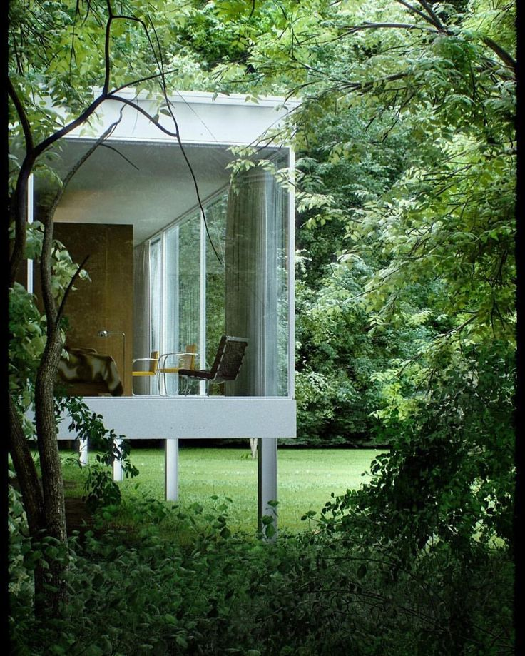 Through the trees... Project by: Mies van der Rohe Image via: Alessandro Prodan  #homedesign #lifestyle #style #designporn #interiors #decorating #interiordesign #interiordecor #architecture #landscapedesign