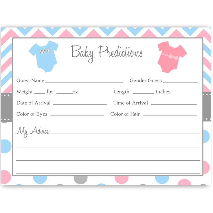 Baby Predictions Card with Onesies. Have guests make predictions at your gender reveal party with this polka dot pink and blue chevron striped prediction card featuring clothes hanging on a clothing line. Card measures 4 x 6. Find matching baby shower invites, invitations, stationary, cards, Bingo and party ideas, recipe cards, thank you notes, gender identification games and more for showers and parties at www.theinvitelady.com.