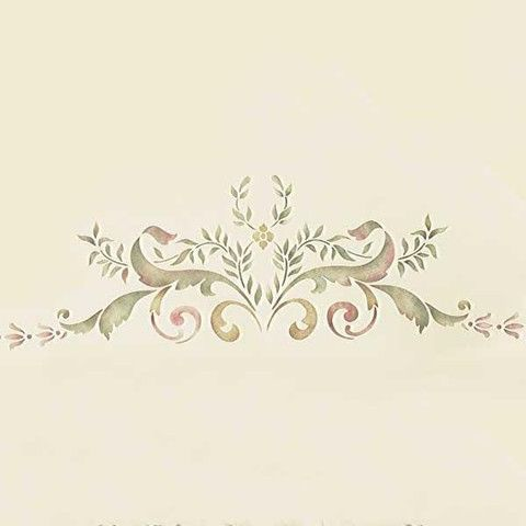Paint our 19th Century Centerpiece Ceiling Stencil on the ceiling of your dining room or living room for a traditional floral and ribbon design.Get the whole l