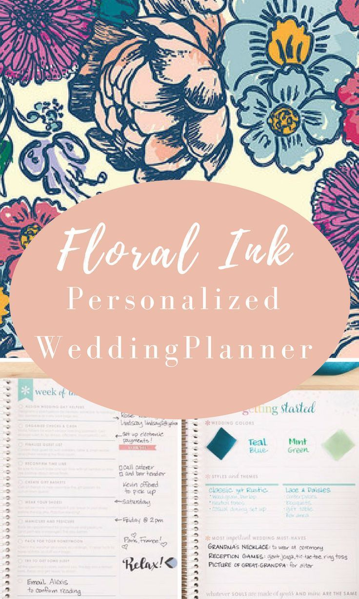 Love this Erin Condren wedding planner-Floral Ink can be personalized, it will keep you on track every step of the way. #ad #erincondren #weddingplanner