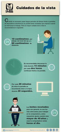 Recomendaciones para el cuidado de la vista cuando es necesario pasar largos periodos de tiempo frente a pantallas de dispositivos electrónicos.