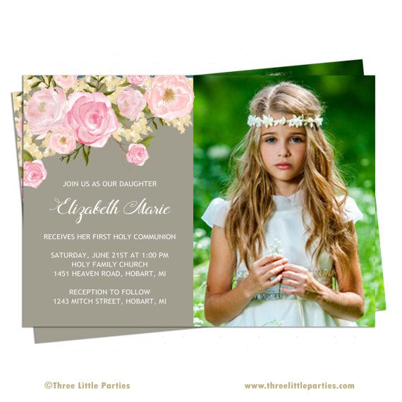 Floral First Communion Invitation Girl by ThreeLittleParties